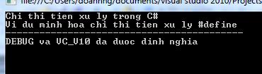 Chỉ thị tiền xử lý trong C#