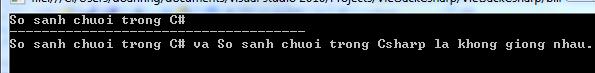 So sánh chuỗi trong C#