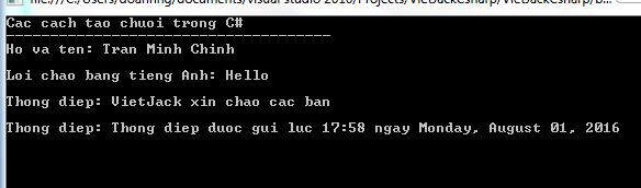 Tạo chuỗi trong C#