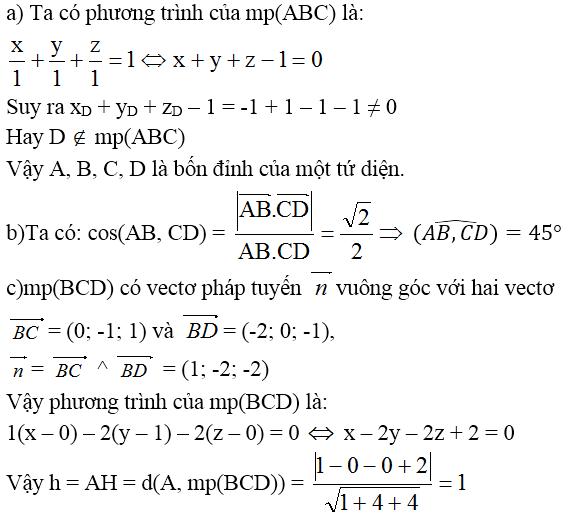 Giải bài 1 trang 91 sgk Hình học 12 | Để học tốt Toán 12