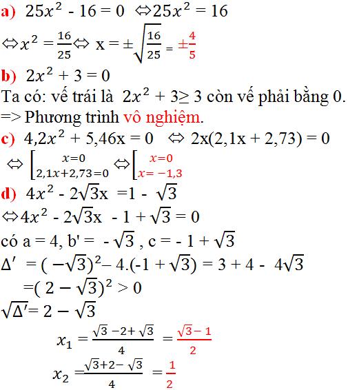 Giải bài 20 trang 49 SGK Toán 9 Tập 2 | Giải toán lớp 9