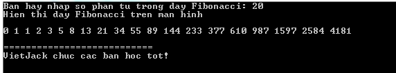 Dãy Fibonacci trong C