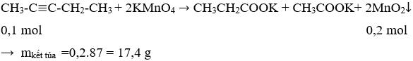 CH<sub>3</sub>-C≡C-CH<sub>2</sub>-CH<sub>3</sub> + 2KMnO<sub>4</sub> → CH<sub>3</sub>CH<sub>2</sub>COOK + CH<sub>3</sub>COOK+ 2MnO<sub>2</sub>↓   Cân bằng phương trình hóa học