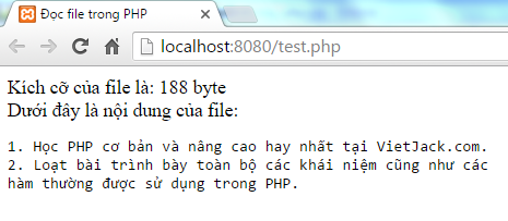 Đọc file trong PHP