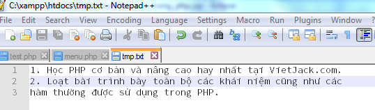 Đọc ghi file trong PHP