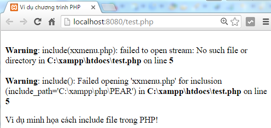 Include file trong PHP