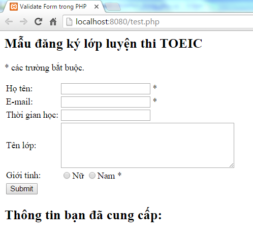 Validate form trong PHP