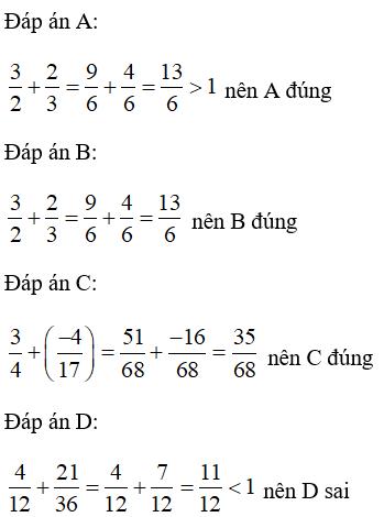 Trắc nghiệm: Phép cộng phân số - Bài tập Toán lớp 6 chọn lọc có đáp án, lời giải chi tiết