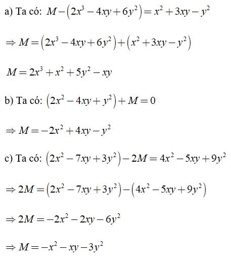 Trắc nghiệm: Cộng, trừ đa thức - Bài tập Toán lớp 7 chọn lọc có đáp án, lời giải chi tiết