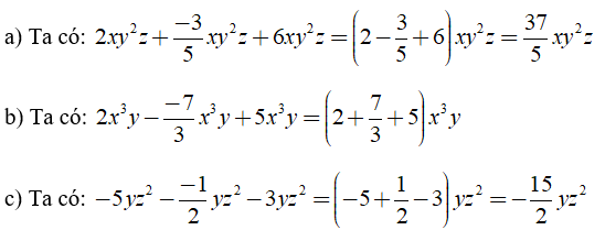 Trắc nghiệm: Đơn thức đồng dạng - Bài tập Toán lớp 7 chọn lọc có đáp án, lời giải chi tiết