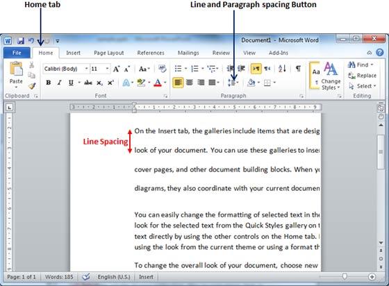 cách chỉnh khoảng cách dòng trong word 2010